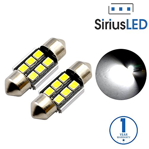 SiriusLED Super Bright 2835 Chipset 6 SMD Canbus Error Free LED Festoon Bulbs for Car Interior Lights License Plate Dome Side Marker Courtesy 1.25