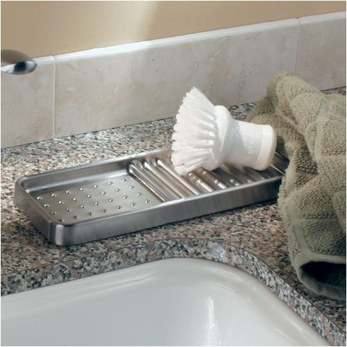 STAINLESS steel SINK TRAY SPONGE soap brush HOLDER NEW