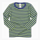 Wool/Silk LS Striped Top Navy/Green 98/104