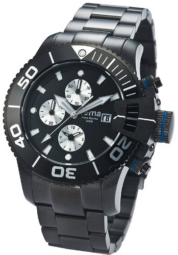 Yema Men's YMHF0202 Sous Marine Chronograph Analog Display Analog Quartz Black Watch