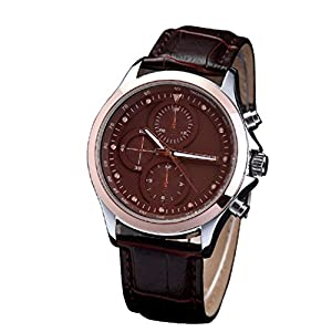 CURREN 8138 Men's Fashionable Water Resistant Wrist Watch with Faux Leather Band-Brown
