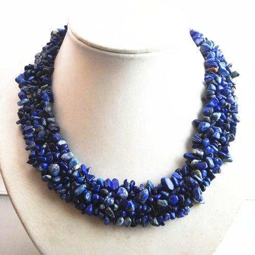 Fashionable Lapis Lazuli Chip Necklace 17.5 Inch