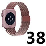 BRG Apple Watch Band, 38mm Milanese Loop Stainless Steel Bracelet Strap Replacement Wrist iWatch Band with Magnet Lock for Apple Watch - Original Rose Gold