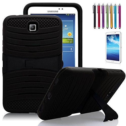Windrew Heavy Duty rugged impact Hybrid Protective Case Stand For Samsung Galaxy Tab 3 7.0 SM-T210 /P3200 7.0 Inch Android Tablet + free stylus pen and Screen protector Film (Black)