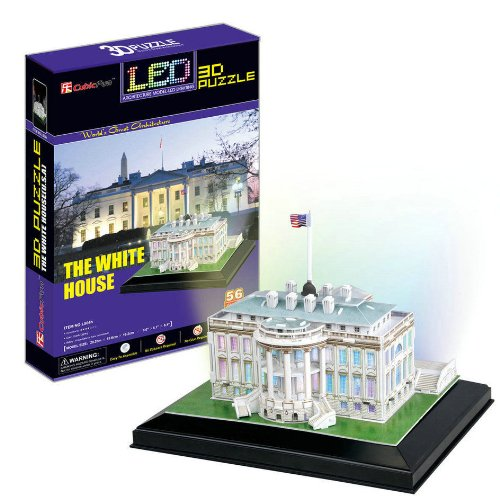 3D Paper Puzzle Model Led Lights Effects White House For Christmas Gift