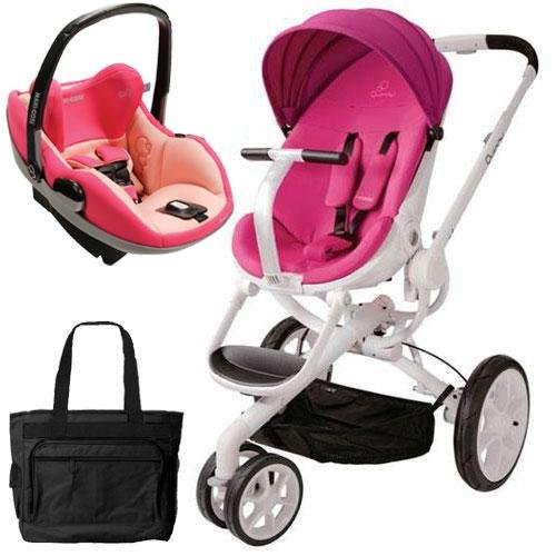 Quinny Cv078Bfu Moodd Prezi Travel System With Diaper Bag And Car Seat - Pink Passion