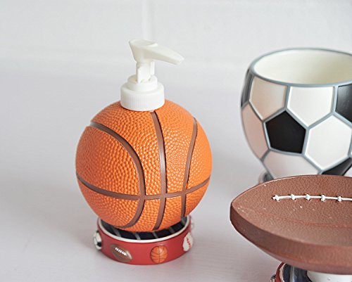 Brandream Cute Sports Basketball Bathroom Accessories Cartoon Resin Bathroom  Set,4Pcs Home Garden Accessory Sets