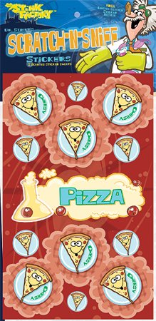 Dr Stinky's PIZZA Scratch-n-Sniff Stickers, 2 sheets 4 x 6 3/4, 26 stickers