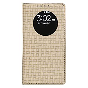 Dsas Artificial Leather Flip cover with screen Display Cut Outs designed for Micromax Q372 Unite 3
