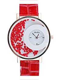 SHVAS - Round White Dial Unique Concept Exclusive Watch With Sprinkled Moving Red Diamonds - Best Quality (SPRINKLESRED)