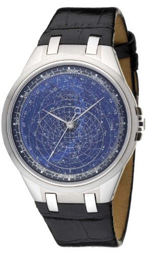 Accurist Celestial Timepiece Men's Quartz Watch with Blue Dial Analogue Display and Black Leather Strap GMT318UK
