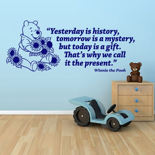 Wall Decal Vinyl Sticker Decals Art Decor Design Cartoon Winnie The Pooh Lettering Yesterday Is History Kids Children Nursery Quote (M1321) front-573035