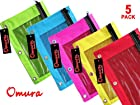 Omura Zippered PENCIL POUCH w/ Mesh Windows & Standard 3-Ring Binder NEON COLOR, Pack 5