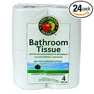 Earth Friendly Products Bathroom Tissue, Unscented, 2-ply, 175 Sheets per Roll, 4-Count Packages (Pack of 24)