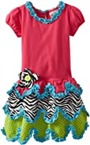 Rare Editions Girls 2-6X Dropwaist Dress, Fuchsia, 6