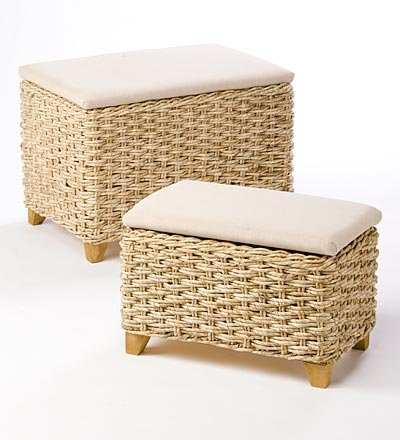 Set Of 2 Maize Weave Nesting Storage Ottomans With Padded Lids