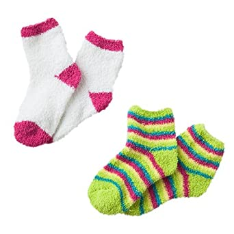 Pink Cookie Solid & Stripe 2-pk. Cozy Socks - Girls (Sock Size 6-8.5, Pink/Blue)
