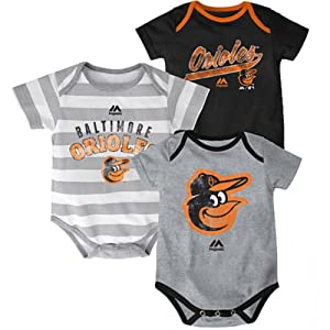 Baltimore Orioles Baby Infant Triple Play 3 Piece Creeper Set by Majestic