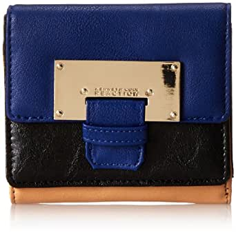 Kenneth Cole Reaction Metal Head Double Flap Indexer Wallet,Azul/Black/Vachetta,One Size