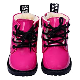 Infant Baby Shoes Mosunx(TM) Leather Ankle Boots Toddler Prewalker (23, Hot Pink)