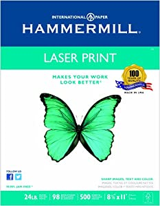 Hammermill Laser Print Copy/Laser Paper, 98 Brightness, 24lb, Letter Size (8.5 x 11), White, 500 Sheets (10460-4)