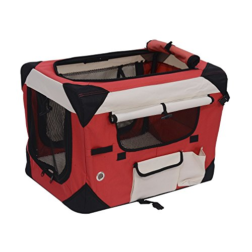 Pawhut 24″ Soft Sided Folding Crate Pet Carrier – Red
