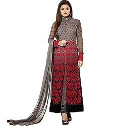 Prachi Silk Mills Women`s Georgette Embroidered Semi-stitched Salwar Suit Dupatta Material(Grey::Red)