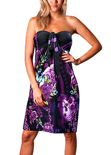 Womens Angela Bandeau Tube Knee Length Summer, Holiday Dress, Purple Flower, UK 24-26