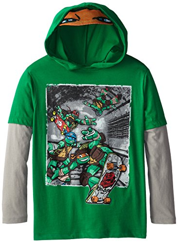 Teenage Mutant Ninja Turtles Big Boys' TMNT Group Skate Long Sleeve Two-Fer Tee with Costume Hood, Kelly/Silver, Large