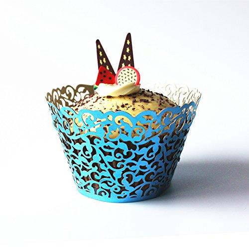 50X Papel Envoltura de Magdalena Cupcake Taza Envase Torta para Boda (azul)