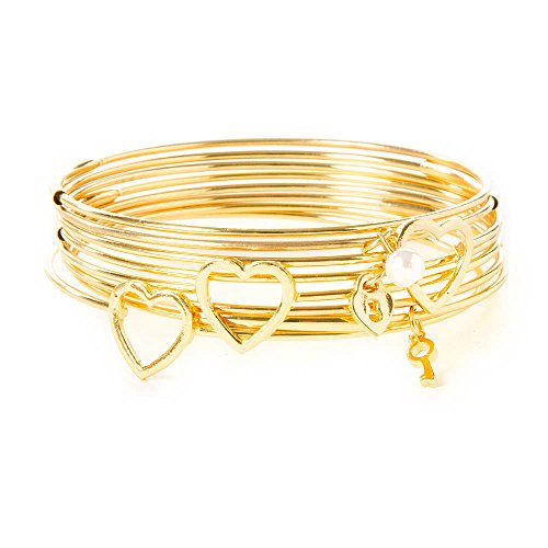 Claire'S Accessories Girls Gold Heart Outline And Charms Bangle Bracelets Set Of 8