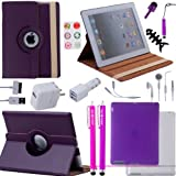 Accessory Bundle for iPad 3 and iPad 2 including Rotating Faux Leather Case / TPU Case / Silicone Case / Earphones / Stylus pens / Chargers / Home Button Stickers / Wire Collector / Screen Protectors / ECO-FUSED? Microfiber Cleaning Cloth (Purple)