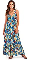 Gorgeous Ladies 100% Cotton Poppy Floral Strappy Maxi Beach Holiday Dress, Blue or Red