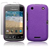 BLACKBERRY CURVE 9380 PURPLE TEXTURED PU LEATHER BACK COVER CASE / SHELL / SHIELD + SCREEN PROTECTOR PART OF THE QUBITS ACCESSORIES RANGEby Qubits