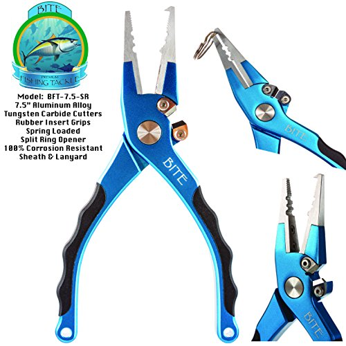 Bite Fishing Tackle Premium Aluminum Saltwater Fishing Pliers - Spring Loaded - Rubber Insert Grips - Tungsten Carbide Cutters -