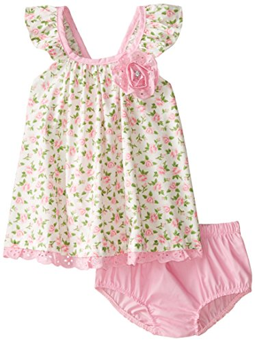 Nannette Baby Girls' Poplin Dress and Pink Rumba Back Diaper Cover, Off White, 18 Months