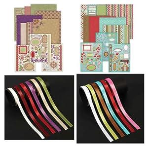 Hot Off The Press - Both Christmas Artful Card Kits & Ribbons