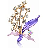 18K Gold Plated Crystal Floral Enamel Breastpin Pin Brooch
