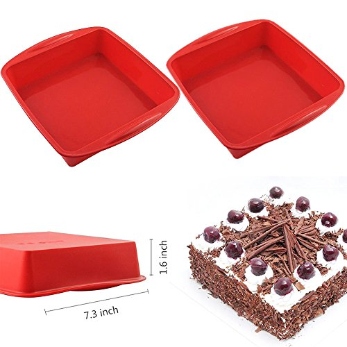 2 PCS Set - AYAMAYA 7.3 inch Silicone Square Cake Pan Nonstick Loaf Baking Pan (Snack Cake Pan compare prices)