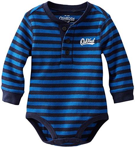 Oshkosh B'Gosh Baby Boys' Henley Bodysuit (Baby) - Blue Stripe - 9 Months front-237680