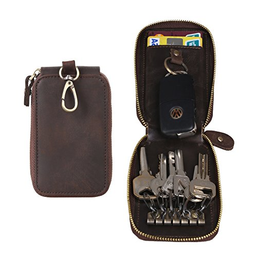Handmade Genuine Leather Zipper Key Chain Case Pouch Credit Cards Holder front-1061824