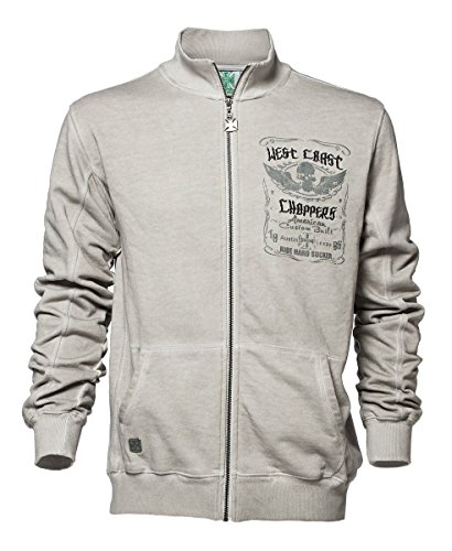 West Coast Choppers Zip Ride Hard Sucker Zip Vest, Color:vintage grey;Größe:M