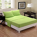 Honeymoon super soft Wrinkle Free Fade-resistant No Ironing, Queen Size 4PC bed sheet set, deep pockets, sensitive skin, Parallel stripe Embroidery, Easy Care - Lime Green