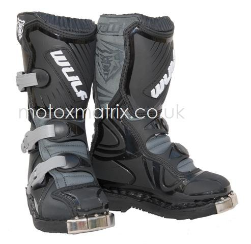 New Kids/youth Wulfsport La Cub Racing Motorcycle Boots Blk/grey Junior UK 12