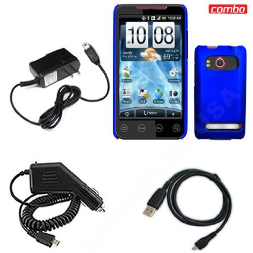 HTC EVO 4G Sprint Combo Dark Blue Rubber Feel Protective Case Faceplate Cover + USB Data Charge Sync Cable + Rapid Car Charger + Home Wall Charger for HTC EVO 4G Sprint