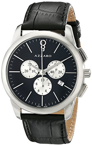 Azzaro Legend Men's 42mm Chronograph Black Calfskin Quartz Watch AZ2040.13BB.000
