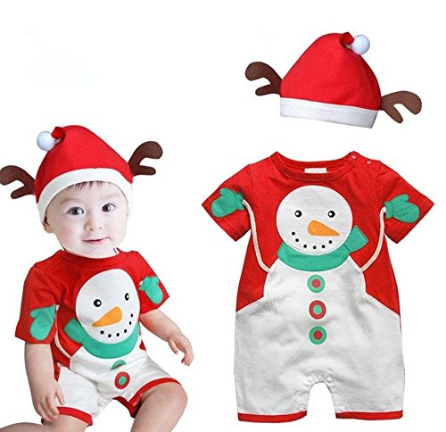 Baby Christmas Cloths Outfits Boy Girl Romper Hat Jumpsuit Set A (18-24 Months) front-506359