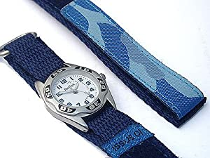 Childrens Blue Army/Camouflage Style Velcro Watch