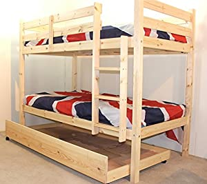 Bunk Bed with Guest Bed - 3ft Single bunkbed with pull out trundle - FAST DELIVERY