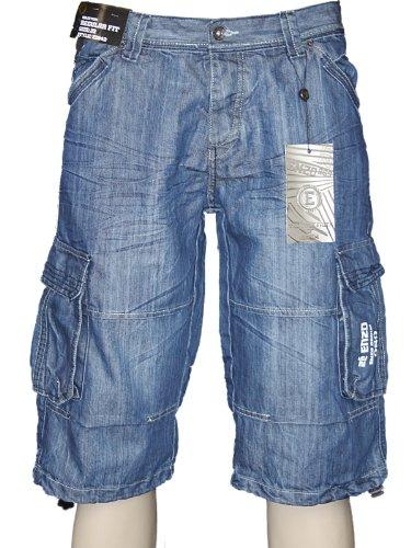 New Mens Dark Blue Enzo Jeans Denim Shorts Size W28